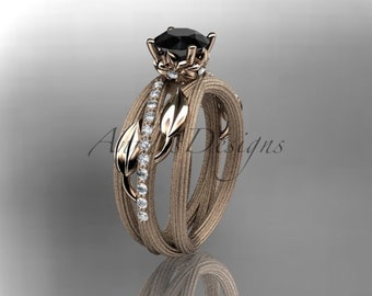 14kt  rose gold diamond leaf and vine wedding ring,engagement ring with black diamond center stone, ADLR329