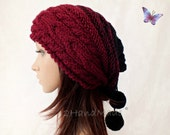 Slouchy Beanie Slouch Hat Oversized Baggy Cabled Hat Neck Warmer womens Fall Winter Merino Wool Burgundy Wine Black Hand Made Knit