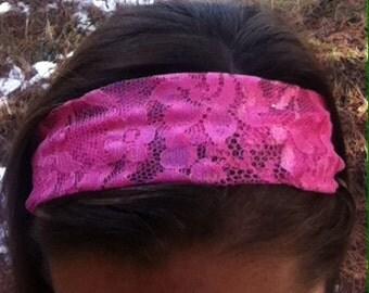 Hot Pink Lace Headband