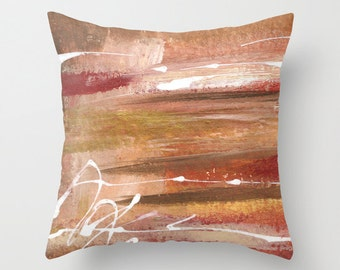 Throw Pillow cover, Green Abstract, poplin zippered pillow case, Golden Dimensions, browns and gold