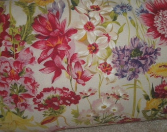 Small Rectangle Summery Handmade Pillow, Eclectic, Flowers