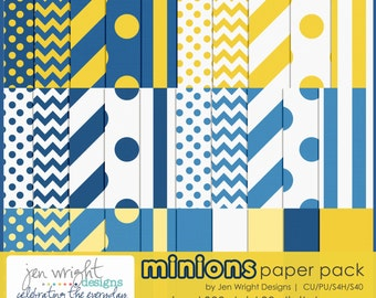 SALE- Digital Paper - Minions Textured Paper Pack- Scrapbooking Instant Download - Personal & Commercial Use Digital Backgrounds
