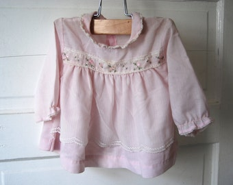 Vintage Baby Dress, Cutler, 18 Months, Pink and White