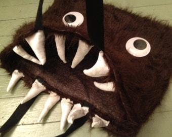 Adorable Furry Plush Monster Tote Shopping Bag - Interactive Wiggly Eyes - Custom Options