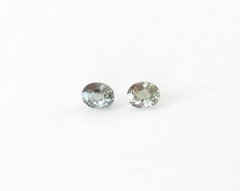Genuine Green Sapphire, Oval Cut, Lot (2) of 1.00 carat