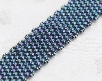 Peyote Stitch Beaded Bracelet - steel blue