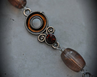 8 Inch Silver Plated Chain With Brown Crystals And Enamel