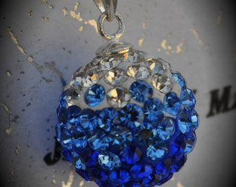SALE Genuine Swarovski Crystal Pave Pendant with Solid Sterling Silver Bail - Clear Light Sapphire