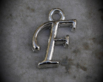 Letter F Silver Plated Charm
