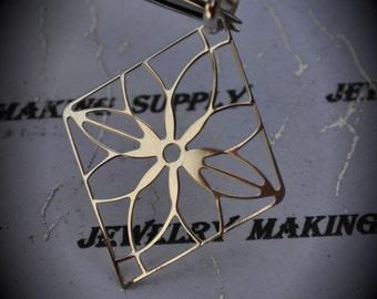 Genuine Solid Sterling Silver Flourish Diamond Pendant
