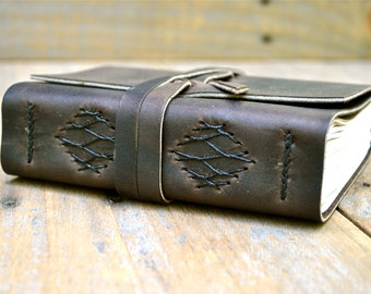 Medium Coffee Brown Leather Journal With French Link Stitching