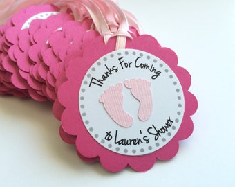 12 Hot Pink Baby Shower Favor Tags with Pink Footprints.  Personalized Favor Tags.  Baby Shower Tags.  Gender Reveal Shower.
