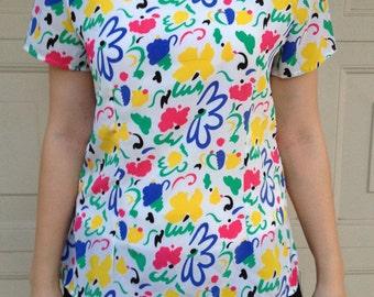 80s Rainbow Floral Blouse // vintage