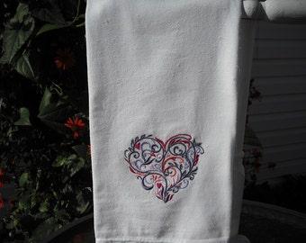 Valentine's Day Filigree Heart Flour Sack Kitchen Towel. Machine embroidered.