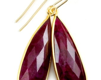 Red Ruby Earrings Natural Raw Long Teardrop Bezel Drop Dangle 14k Gold Filled Earwires Simple Faceted Large Drops Spyglass Designs Unique