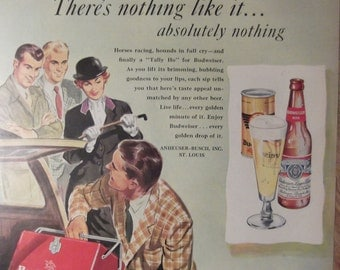 BUDWEISER BEER Horse Racing Beer Cooler Original Vintage 1940s Beer Ad Ready To Frame Additional Ads Ship FREE