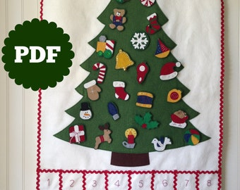 FELT ADVENT CALENDAR pattern -- diy Christmas countdown -- felt Christmas tree -- felt ornament -- Christmas countdown advent pattern