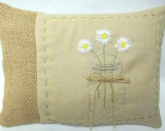 Daisies In A Mason Jar Embroidered Mini Pillow. Made To Order