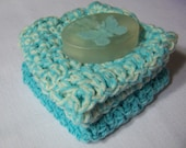 Sea foam green,100% cotton washcloths, bamboo cotton with hand made almond soap sample