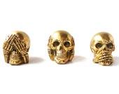 see no evil skull set, skulls, figurines, goth, metallic gold, skull heads