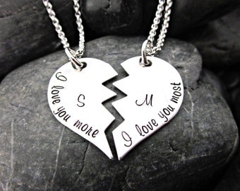 I love you more, I love you most - Couple's Necklace Set -  Initials - Interlocking Broken Heart