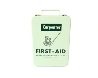 Vintage Carpenter Metal First Aid Kit - The Pac Kit Safety Equipment Co Inc. - School Bus First Aid Kit - Greenwich, Conn - Weatherproof