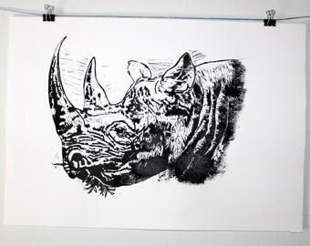 Rhino Big 5 Collection A3 Original Lino Art print on 200gms 100% Fabriano