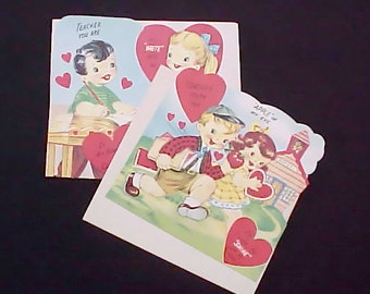 2 Large and Darling 1950's Valentine Cards with Envelopes