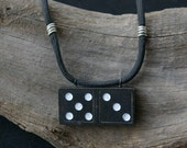 Black and White Necklace with a Stray Cardinal 5 x 3 Domino on Wire Wrapped Para Cord