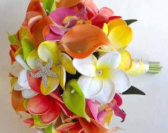 Sunny Citrus  Beach Wedding Bouquet  Real Touch Flowers in Tangerine, Orange, Yellow and Lime- Design # 103