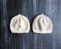 2! gender neutral hat set // off white and light brown striped newborn baby beanie // hospital hat baby shower gift idea // simple infant