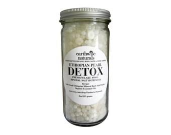 Ethiopian Pearl DETOX | Lake Assal Sea Salt Mineral Bath Soak | 8 oz | Choose Your Scent