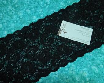Black Stretch lace, Black elastic lace 1 yard  6 inch wide for bridal, baby headband, lingerie, garter, hair acc by MarlenesAttic - Item AA4