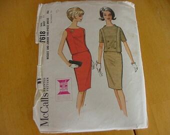 "Vintage 1960s McCalls Pattern 7618,  Misses 2 Piece Dress with Slim Skirt, Size 12,  Bust 32"""
