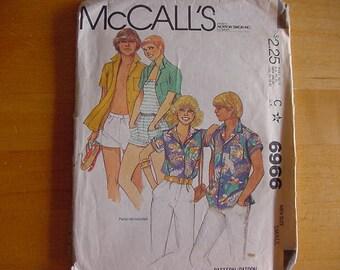 Vintage 1980s McCalls Pattern 6966, Men's Shirt, Size Small (34-36), UNCUT