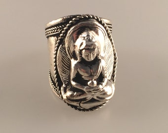 Buddha Finger Ring, Siddhartha Gautama, Adjustable Ring, Spiritual Ring, The Enlightened One, Nepalese Jewelry,Tibetan Jewelry