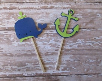 Navy and Lime Whale and Anchor Cupcake Toppers - Navy and Lime, Ahoy shower, baby showers, bridal showers, anchor toppers