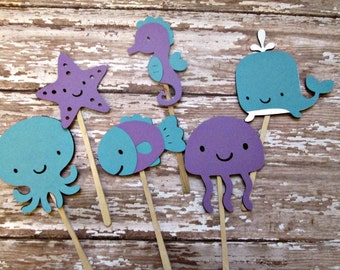 Girl Under the Sea Cupcake Toppers - Purple/Aqua, Light Sea Creatures, Under the Sea, Aquas and Purples, Its a Girl, Birthday Party,