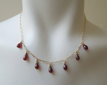 Garnet Necklace: AAA Garnets- 14K Gold Filled Chain- January Birthstone- Valentine's Day Gift