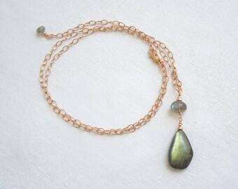 Labradorite Pendant Necklace: Gold Flash Labradorite, Blue Flash Labradorite, 14K Rose Gold Filled Adjustable Chain, Textured Chain