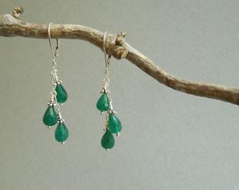 Emerald Green Chandelier Earrings: Green Onyx Sterling Silver- Emerald Alternative- May Birthday
