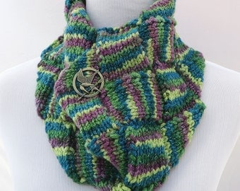 Hand knit multicolored cowl scarf / circle scarf