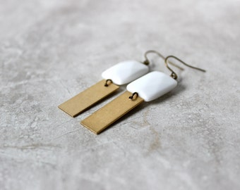 SALE 20% OFF - Brass + Porcelain Earrings, Rectangle Dangle Earrings, Modern White Earrings