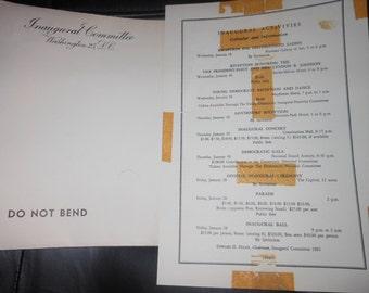 1960 President John F Kennedy inauguration inivtiaton envelope & activity sheet JFK