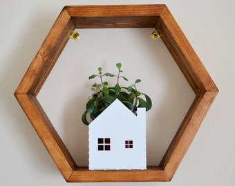 Little house planter in laser cut white acrylic