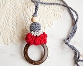 Coconut ring nursing pendant  - red grey - Sling Accessory - breastfeeding necklace - babywearing