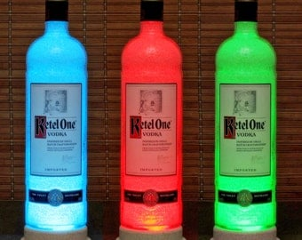 Ketel One Holland Vodka Color Changing LED Remote Control Bottle Lamp Bar Light Man Cave Lamp Accent Lamp -Bodacious Bottles-