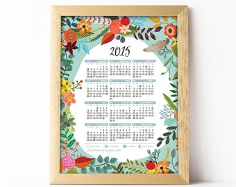 50% Off 2015 Lunar Printable Calendar  8x10