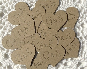 Personalized Heart Confetti, Heart Shaped Rustic Wedding Decor, Initals and Date, Valentine's Day Wedding Table Reception Decoration