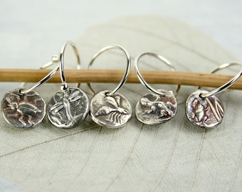 Bee Charm Earrings - Tiny Fine Silver Dangles with Animal Totem Motifs - Sterling Hoops